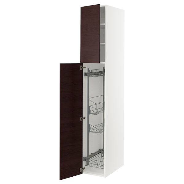 """SEKTION High cabinet/pull-out int fittings, white/Lerhyttan black stained, 15x24x90 """""""