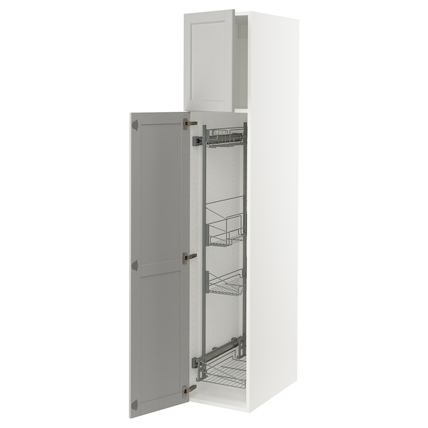 """SEKTION High cabinet/pull-out int fittings, white/Lerhyttan light gray, 15x24x80 """""""