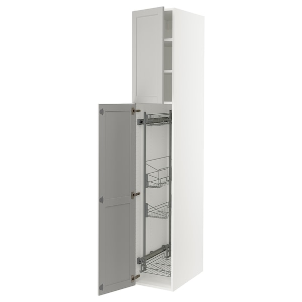 """SEKTION High cabinet/pull-out int fittings, white/Lerhyttan light gray, 15x24x90 """""""