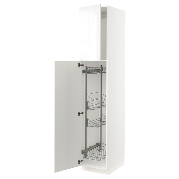 """SEKTION High cabinet/pull-out int fittings, white/Ringhult white, 18x24x90 """""""