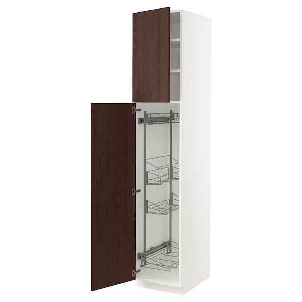 """SEKTION High cabinet/pull-out int fittings, white/Sinarp brown, 18x24x90 """""""