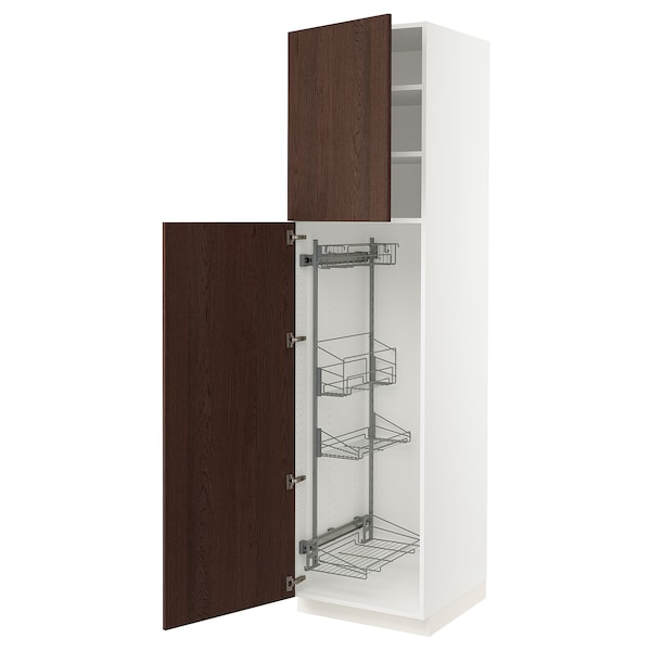 SEKTION High cabinet/pull-out int fittings, white/Sinarp brown, 24x24x90 ""