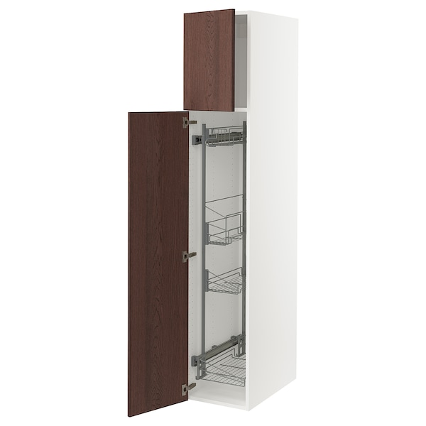 """SEKTION High cabinet/pull-out int fittings, white/Sinarp brown, 15x24x80 """""""