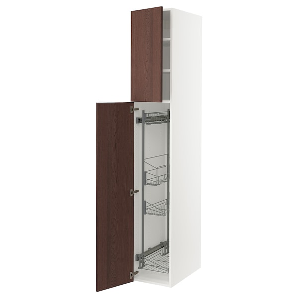 """SEKTION High cabinet/pull-out int fittings, white/Sinarp brown, 15x24x90 """""""