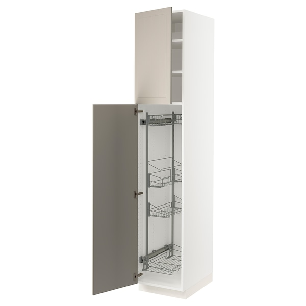 """SEKTION High cabinet/pull-out int fittings, white/Stensund beige, 18x24x90 """""""