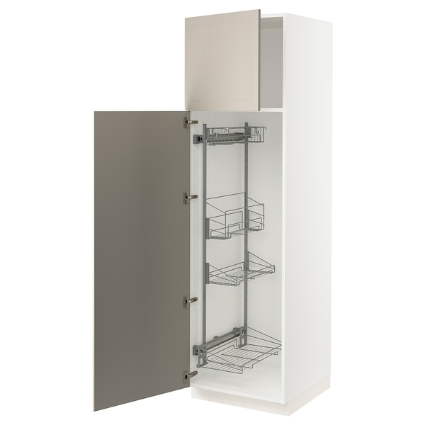"""SEKTION High cabinet/pull-out int fittings, white/Stensund beige, 24x24x80 """""""