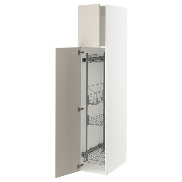 """SEKTION High cabinet/pull-out int fittings, white/Stensund beige, 15x24x80 """""""
