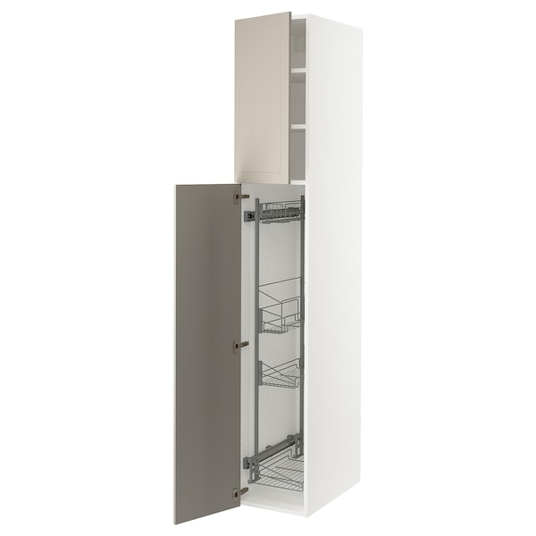 """SEKTION High cabinet/pull-out int fittings, white/Stensund beige, 15x24x90 """""""