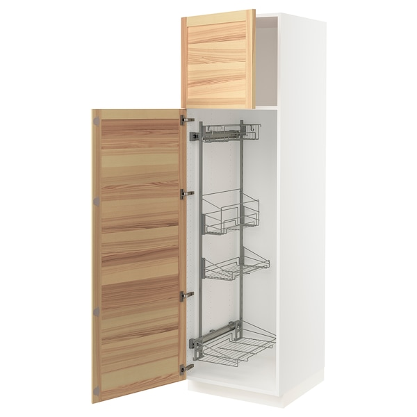 SEKTION High cabinet/pull-out int fittings, white/Torhamn ash, 24x24x80 ""