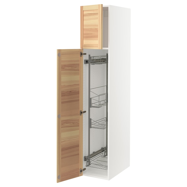 SEKTION High cabinet/pull-out int fittings, white/Torhamn ash, 15x24x80 ""