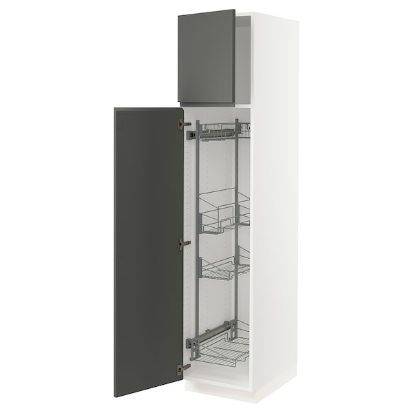 """SEKTION High cabinet/pull-out int fittings, white/Voxtorp dark gray, 18x24x80 """""""