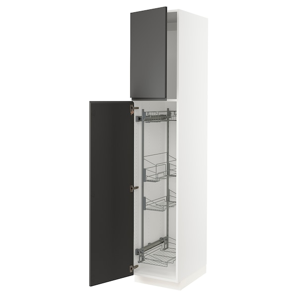 """SEKTION High cabinet/pull-out int fittings, white/Voxtorp dark gray, 18x24x90 """""""