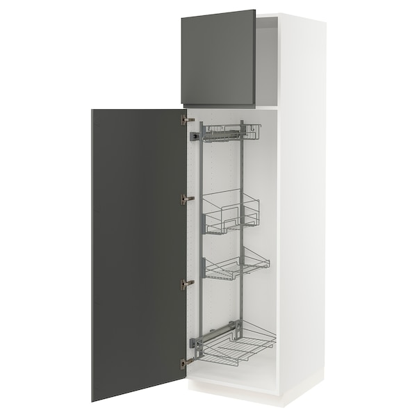 """SEKTION High cabinet/pull-out int fittings, white/Voxtorp dark gray, 24x24x80 """""""