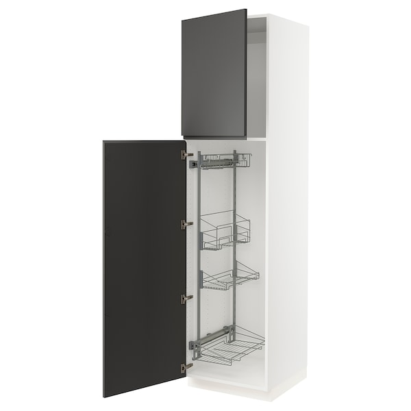 """SEKTION High cabinet/pull-out int fittings, white/Voxtorp dark gray, 24x24x90 """""""