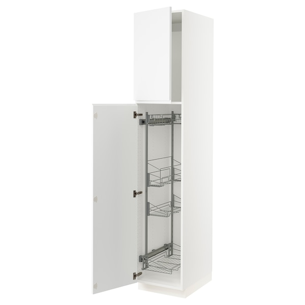 """SEKTION High cabinet/pull-out int fittings, white/Voxtorp matt white, 18x24x90 """""""