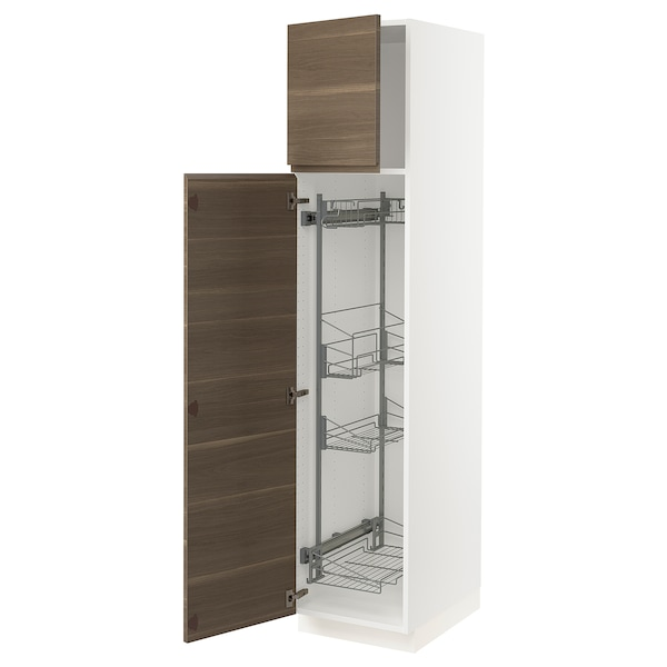 SEKTION High cabinet/pull-out int fittings, white/Voxtorp walnut effect, 18x24x80 ""