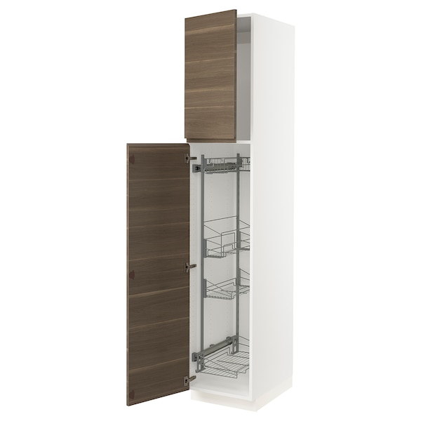 SEKTION High cabinet/pull-out int fittings, white/Voxtorp walnut effect, 18x24x90 ""