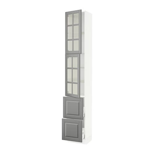 Sektion high cabinet w 2 doors 2 drawers white bodbyn for 12 inch wide door