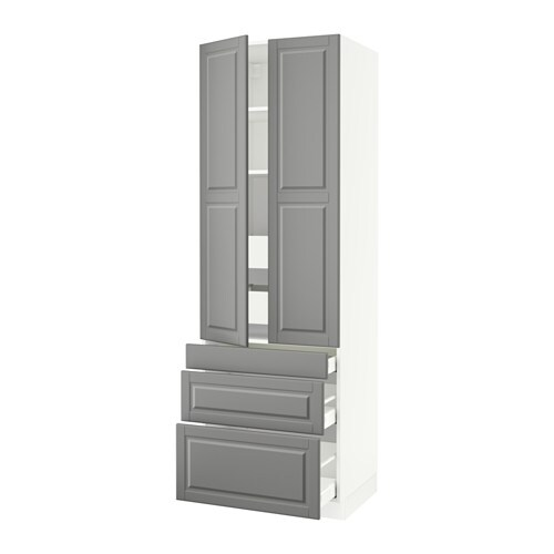 sektion high cabinet w 2 doors 5 drawers white ma bodbyn gray 30x24x90 ikea. Black Bedroom Furniture Sets. Home Design Ideas