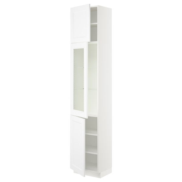 SEKTION High cabinet w glass door/2 doors, white/Axstad matt white, 18x15x90 ""
