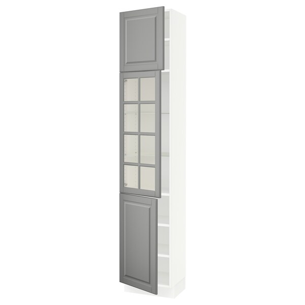 "SEKTION high cabinet w glass door/2 doors white/Bodbyn gray 18 "" 15 "" 15 1/2 "" 90 """