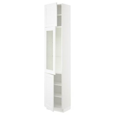 "SEKTION high cabinet w glass door/2 doors white/Axstad matt white 18 "" 15 "" 15 1/2 "" 90 """
