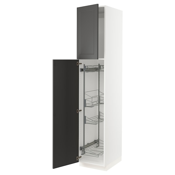 """SEKTION High cabinet w/pull-out organizers, white/Axstad dark gray, 18x24x90 """""""