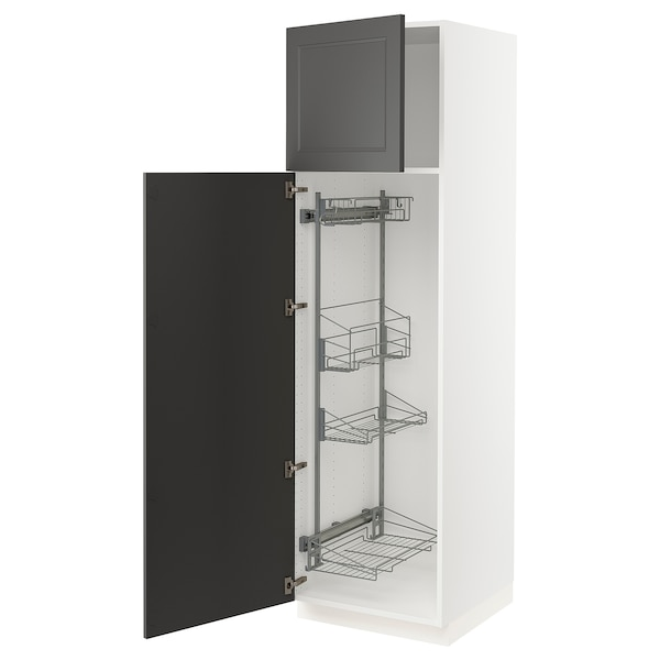 """SEKTION High cabinet w/pull-out organizers, white/Axstad dark gray, 24x24x80 """""""