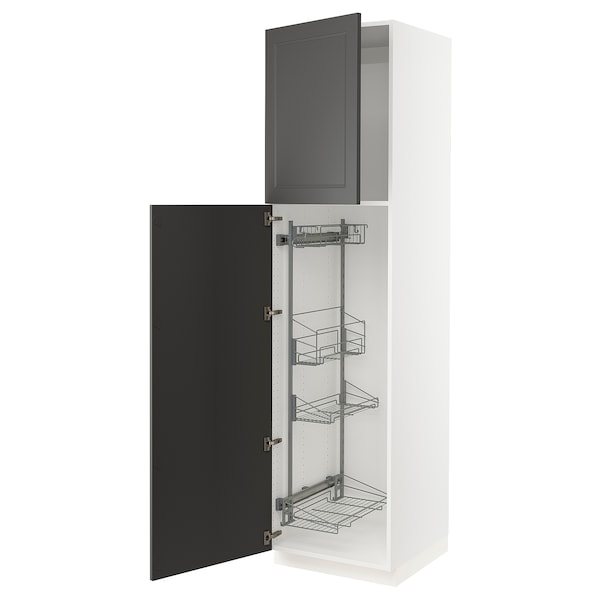 SEKTION High cabinet w/pull-out organizers, white/Axstad dark gray, 24x24x90 ""