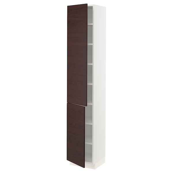SEKTION High cabinet with shelves & 2 doors, white Askersund/dark brown ash effect, 15x15x80 ""