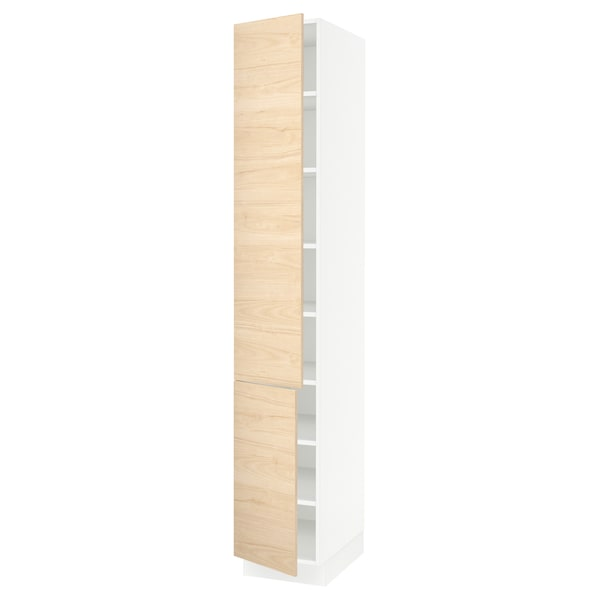 SEKTION High cabinet with shelves/2 doors, white/Askersund light ash effect, 15x24x90 ""