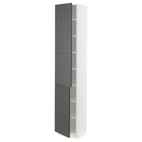 "SEKTION High cabinet with shelves & 2 doors, white/Axstad dark gray, 15x15x80 """