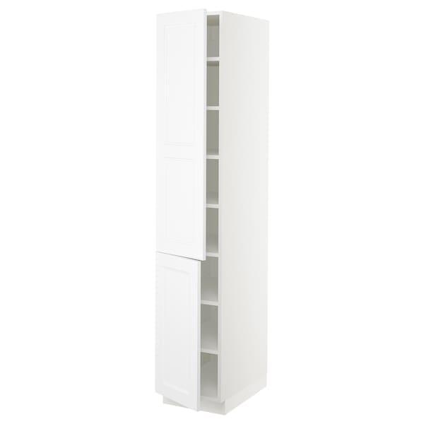 "SEKTION High cabinet with shelves/2 doors, white/Axstad matt white, 15x24x80 """