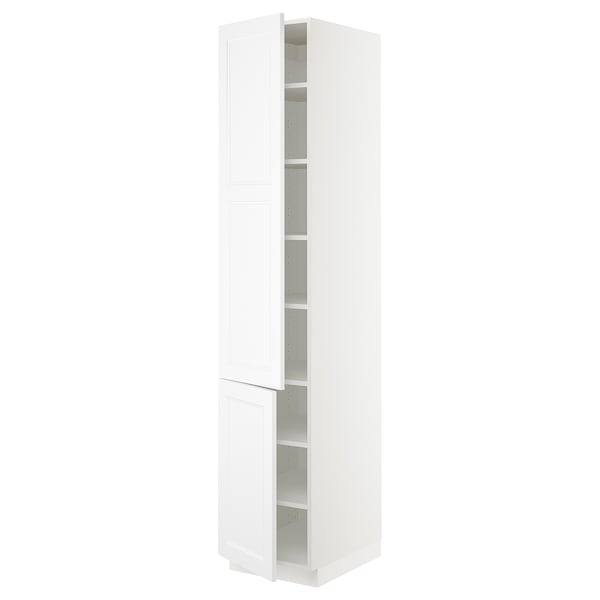 SEKTION High cabinet with shelves/2 doors, white/Axstad matt white, 18x24x90 ""