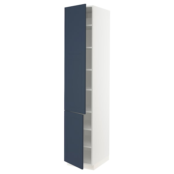 SEKTION High cabinet with shelves/2 doors, white Axstad/matte blue, 18x24x90 ""