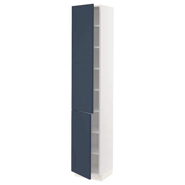 """SEKTION High cabinet with shelves/2 doors, white Axstad/matte blue, 15x15x80 """""""