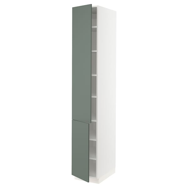 SEKTION High cabinet with shelves/2 doors, white/Bodarp gray-green, 15x24x90 ""