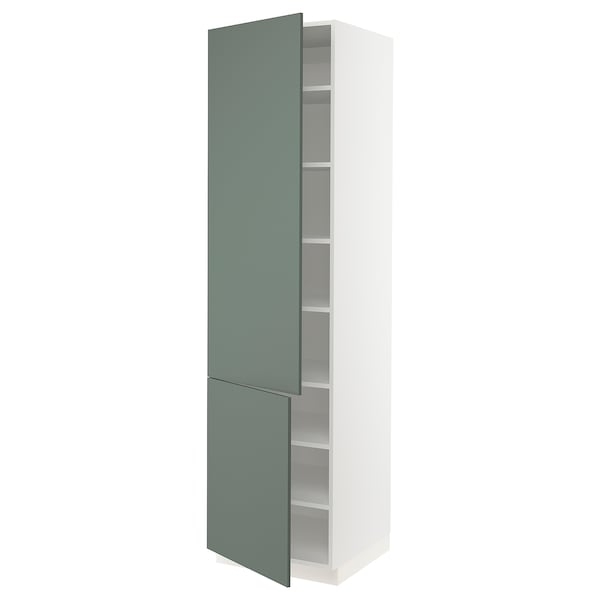 SEKTION High cabinet with shelves/2 doors, white/Bodarp gray-green, 24x24x90 ""