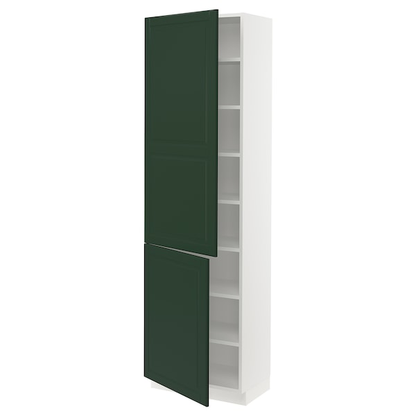 SEKTION High cabinet with shelves/2 doors, white/Bodbyn dark green, 24x15x80 ""