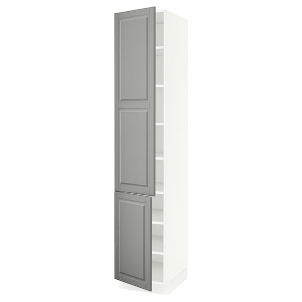"""SEKTION High cabinet with shelves/2 doors, white/Bodbyn gray, 18x24x90 """""""