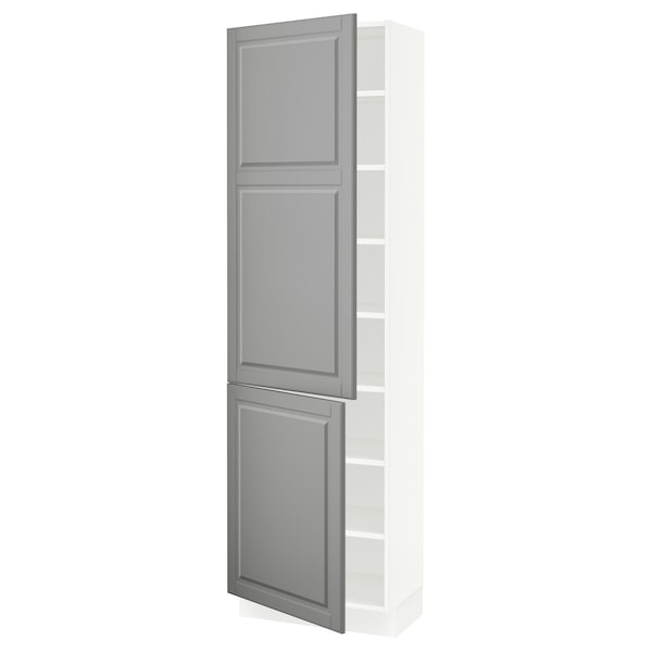 """SEKTION High cabinet with shelves/2 doors, white/Bodbyn gray, 24x15x80 """""""