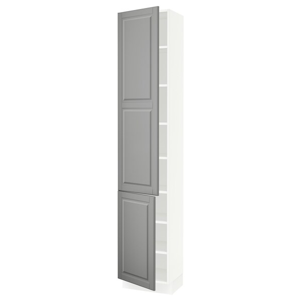 """SEKTION High cabinet with shelves/2 doors, white/Bodbyn gray, 18x15x90 """""""