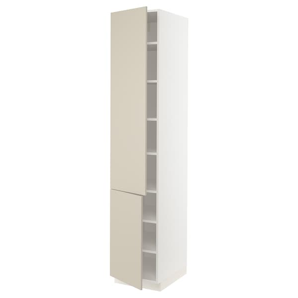 SEKTION High cabinet with shelves/2 doors, white/Havstorp beige, 18x24x90 ""