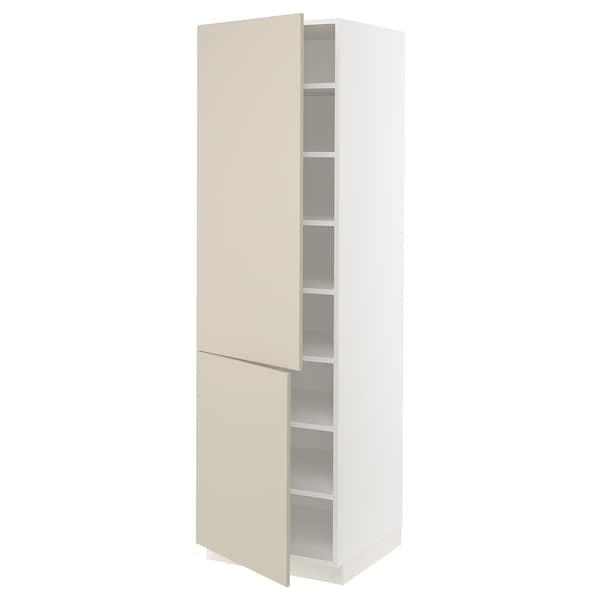 "SEKTION High cabinet with shelves/2 doors, white/Havstorp beige, 24x24x80 """