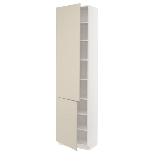 SEKTION High cabinet with shelves/2 doors, white/Havstorp beige, 24x15x90 ""