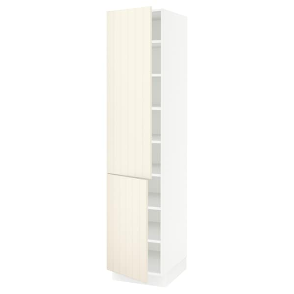 SEKTION High cabinet with shelves/2 doors, white/Hittarp off-white, 18x24x80 ""