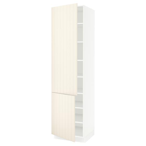 "SEKTION High cabinet with shelves/2 doors, white/Hittarp off-white, 24x24x90 """