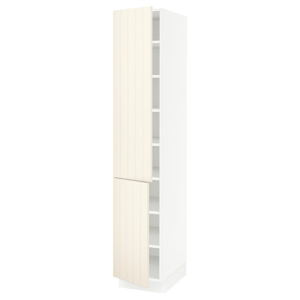 SEKTION High cabinet with shelves/2 doors, white/Hittarp off-white, 15x24x80 ""