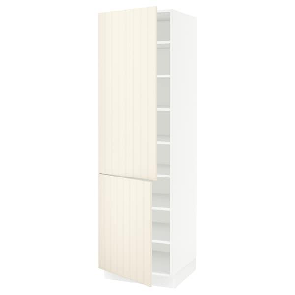 "SEKTION High cabinet with shelves/2 doors, white/Hittarp off-white, 24x24x80 """