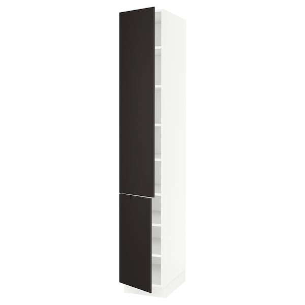 """SEKTION High cabinet with shelves/2 doors, white/Kungsbacka anthracite, 15x24x90 """""""